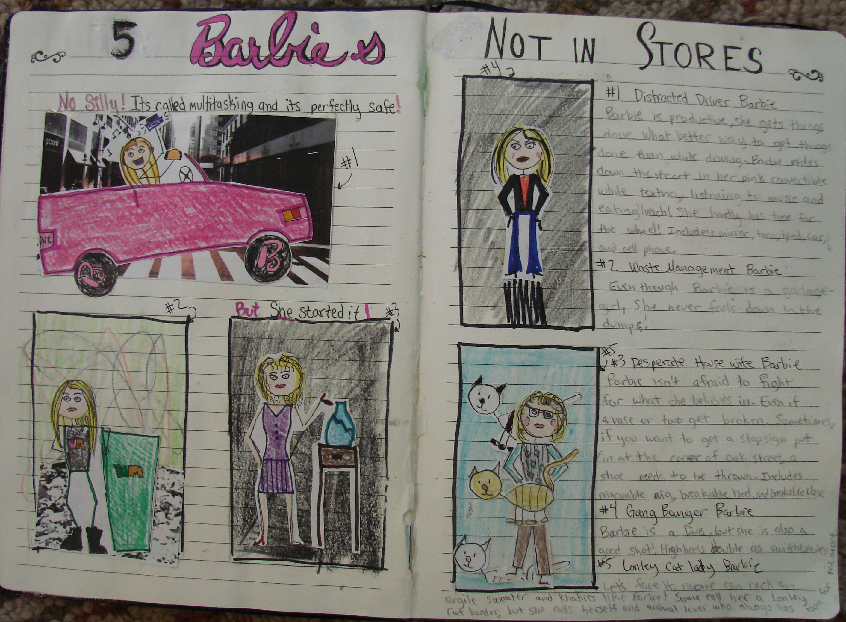 """Wow!  6th grader Mimi blew me away with this two-page spread dedicated to Barbies that don't sell well. This totally deserved a """"Mr. Stick of the Year"""" award."""