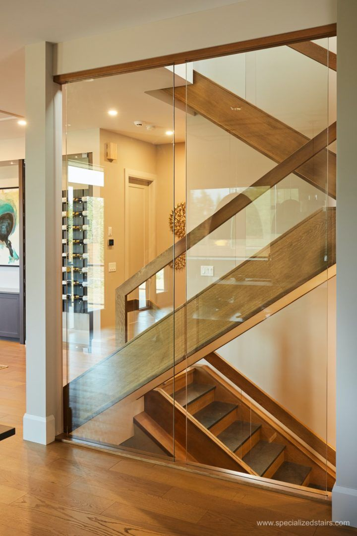 Best White Oak With Slate Wooden Staircase Design Glass Wall 400 x 300