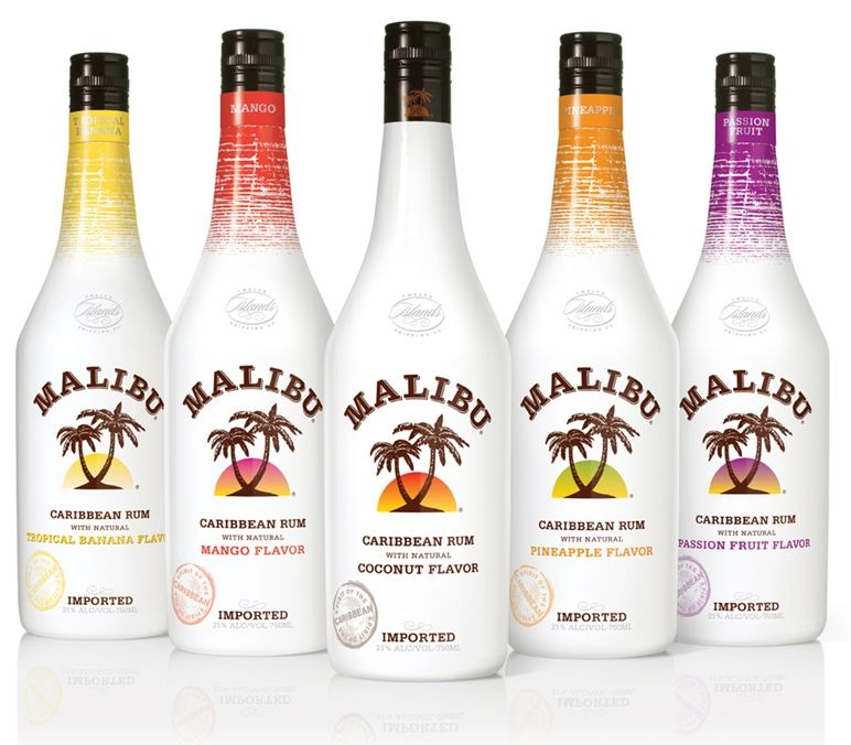 Malibu rum several flavors coconut is the most for Great vodka mixed drinks