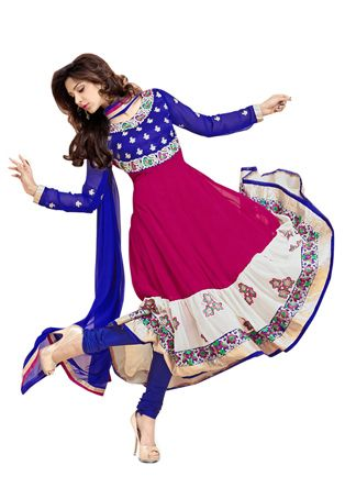 Dark Blue Art Silk and Faux Georgette Anarkali Churidar Kameez