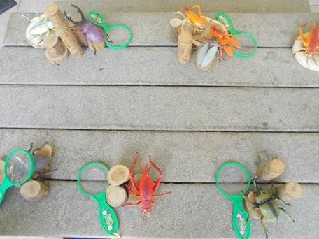 The children at the Cisco Family Connection, in Malpitas, CA really enjoyed exploring insects; their teachers provided wood blocks, toy insects and magnifying glasses. How long do you think it took before real bugs joined the game?