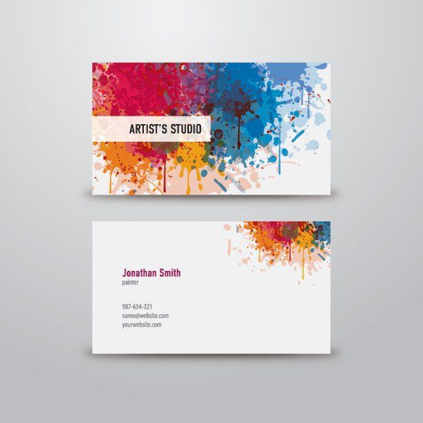 artist business card graphic available in eps vector format artist business card colors painter solorful splash template vector