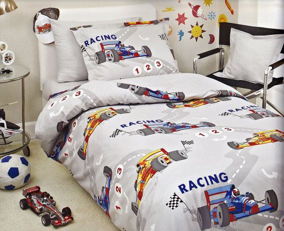 Custom Twin Size Grey Dark Blue Red Yellow Racing Cars Printed Kid Bedding Set For Boys On Etsy 100 00