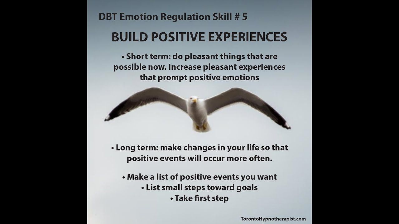 Dbt Emotion Regulation Skill 5 Build Positive Experiences Dialectical Behavior Therapy Positive Emotions Dbt