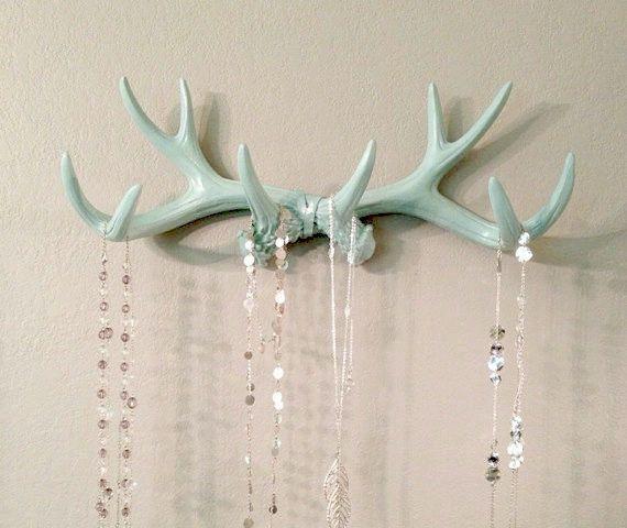 Faux Deer Antler Rack de menthe bijoux titulaire charpe
