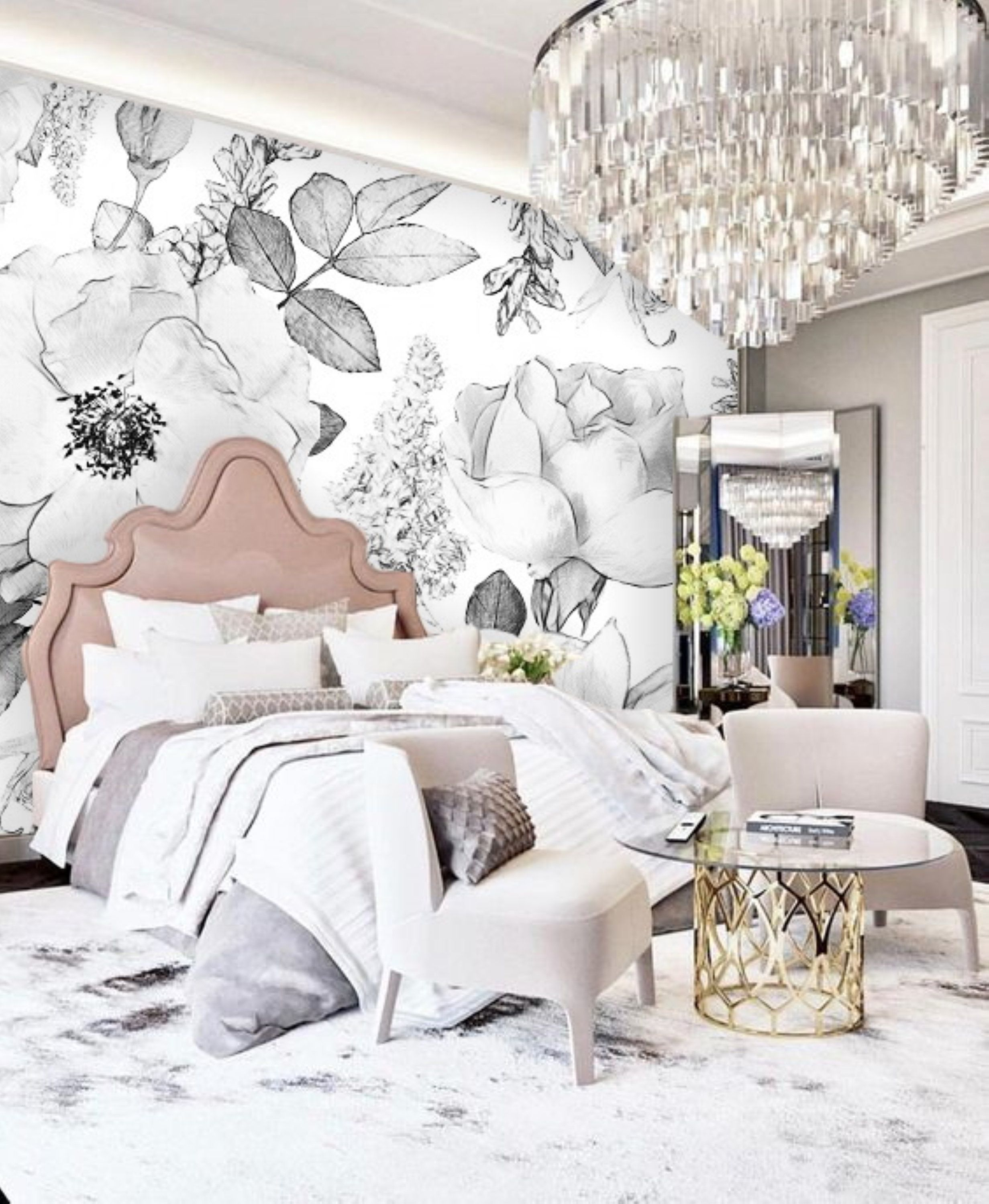 Black and White Floral Wallpaper Peel & Stick Mural Remove