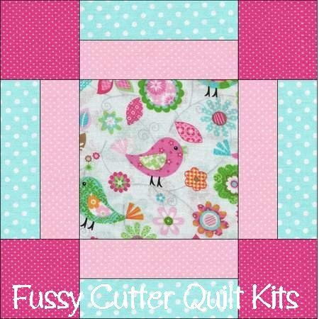 Birds Flowers Pink Blue Green Baby Fabric Easy Pre-Cut Quilt Blocks Kit