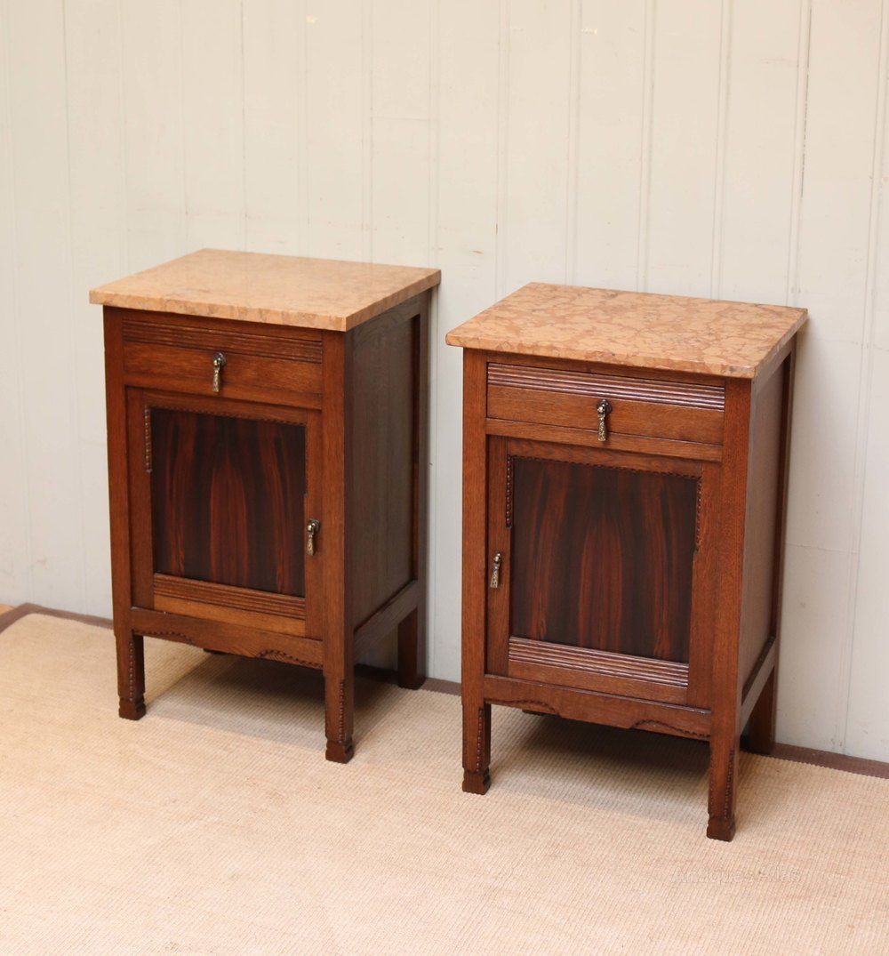 Pair Of French Marble Top Bedside Cabinets Antiques Atlas