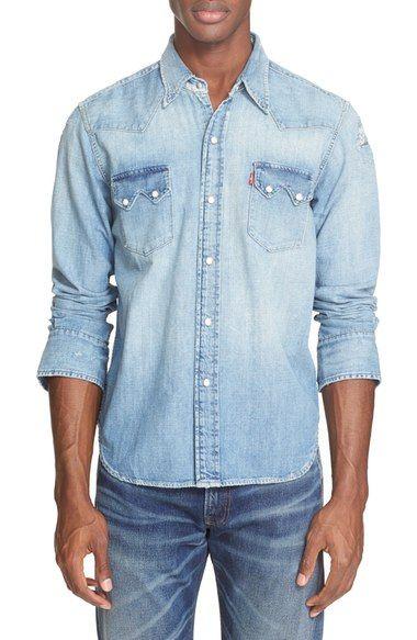 72747bd899 LEVI S  1955 Sawtooth  Trim Fit Denim Western Shirt.  levis  cloth ...