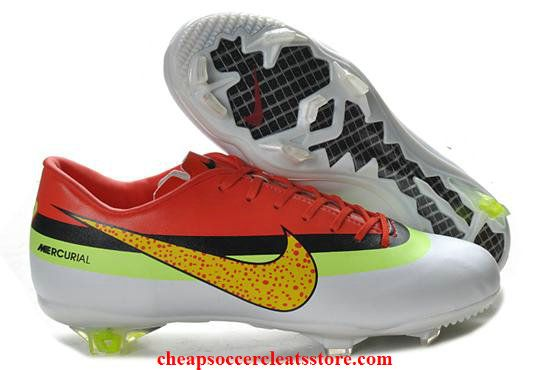innovative design 3d45e ab2fc Nike Mercurial Vapor IX CR FG White Volt Crimson Cheap Soccer Cleats