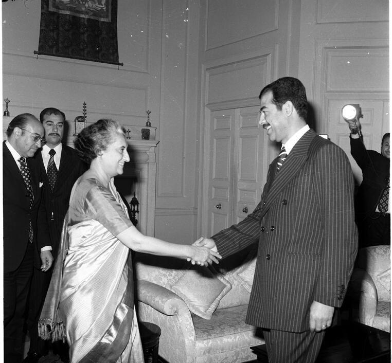 610b27e56b1d9 1974    Prime Minister Indira Gandhi with Vice-President of Iraq Saddam  Hussein