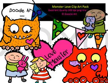 Monster Love Clipart Pack Clip Art Valentine Clipart Doodles