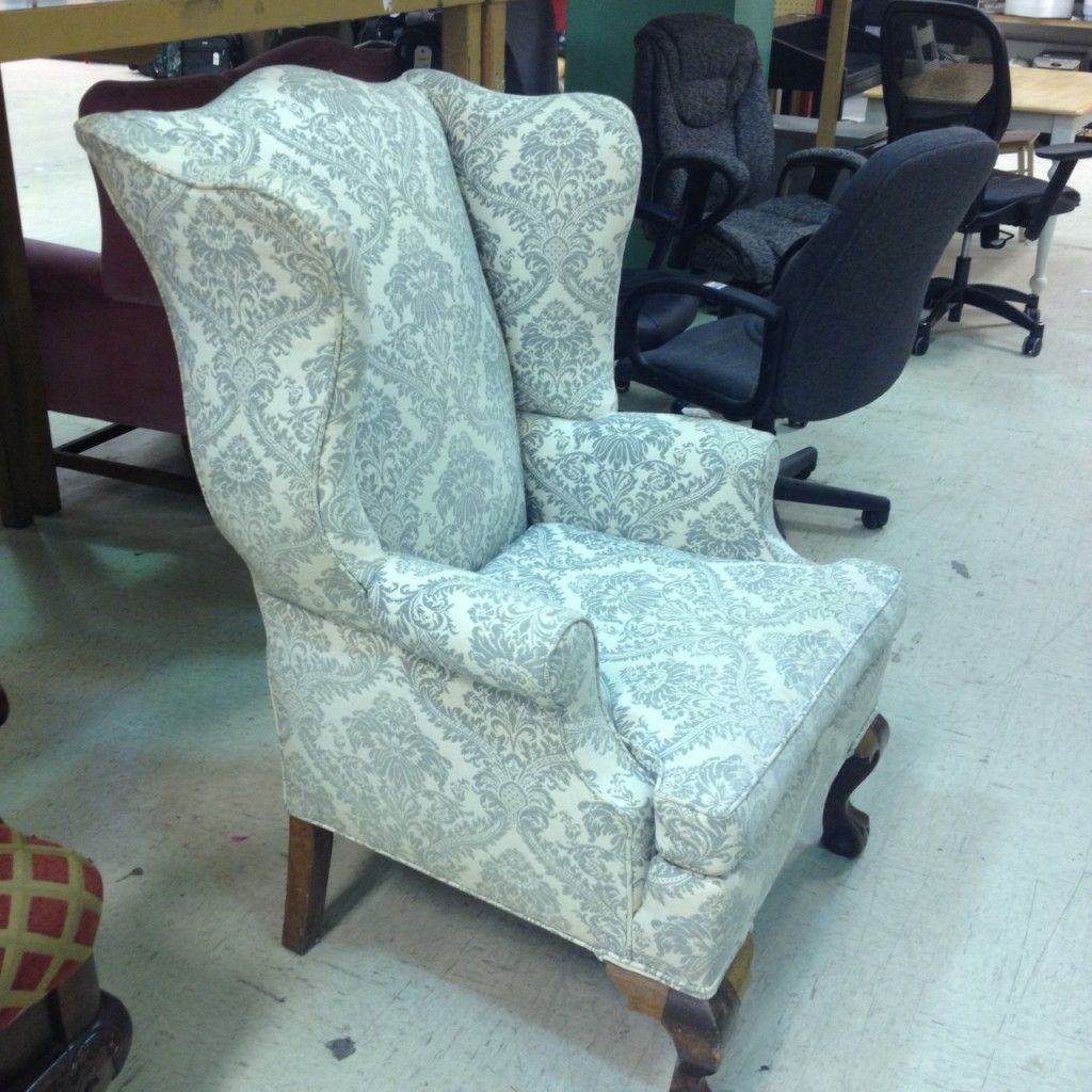 vintage wingback chair thriftdiving - How To Reupholster A Wingback Chair: A Step-by-Step Tutorial And