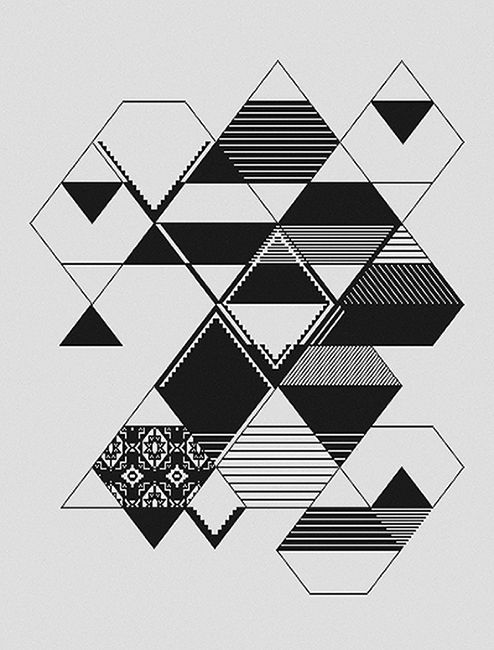 Black & white geometric pattern, monochrome textile design // Carolina Melis