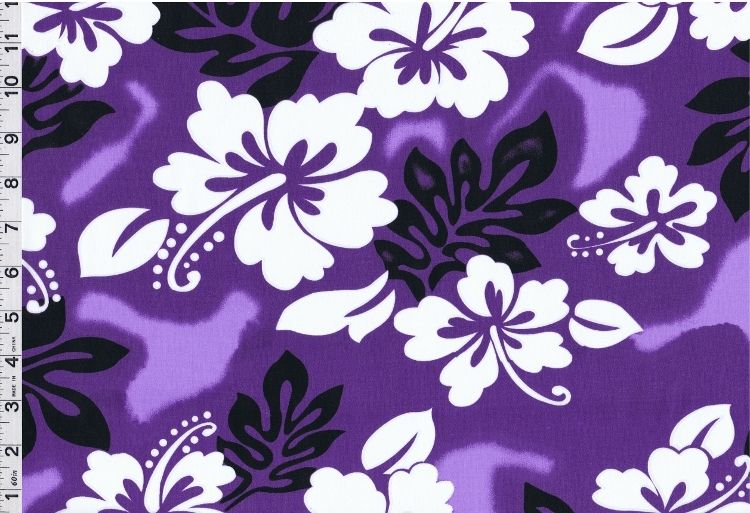 Discount Hawaiian Fabric Hawaiian Purple Hibiscus Floral Print