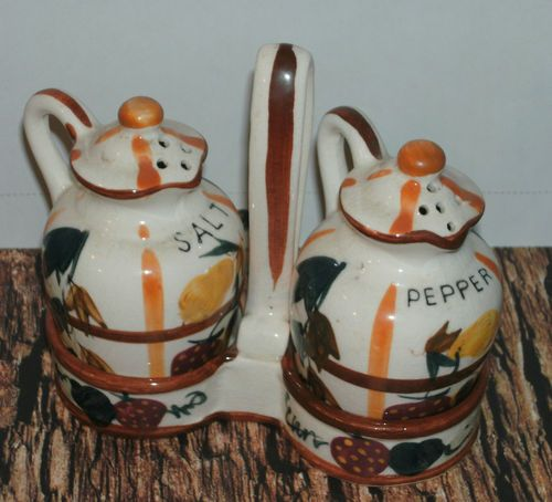 Vintage Nasco Salt and Pepper Set w Holder Made in Japan