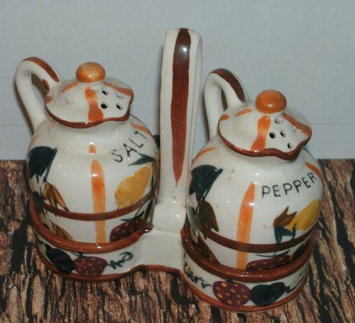 Vintage Nasco Salt and Pepper Set w Holder Made in Japan