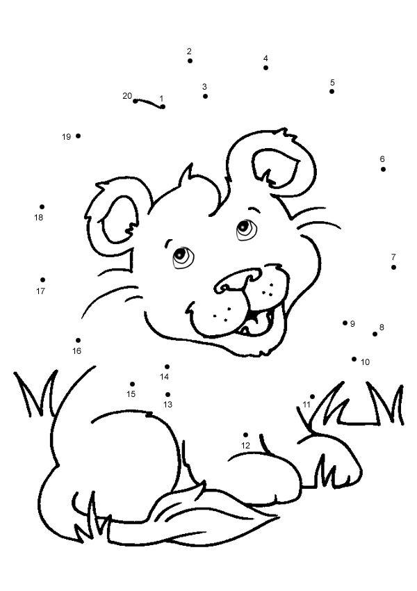 Free Online Printable Kids Games  Lion Cub Dot To Dot  For kids