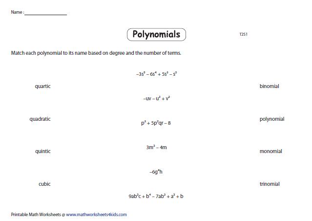 Matching Polynomials Polynomials Printable Math Worksheets Quadratics