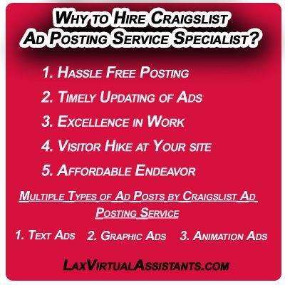 Why To Hire Craigslist Ad Posting Service Specialist Ads Virtual Assistant Hiring