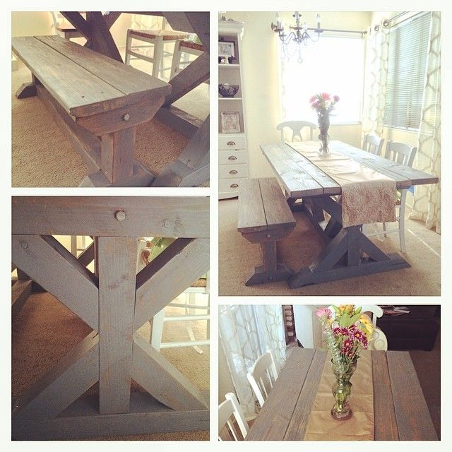 Dinner Table Bench DIY Project Wood Grey Aged Stain Dining