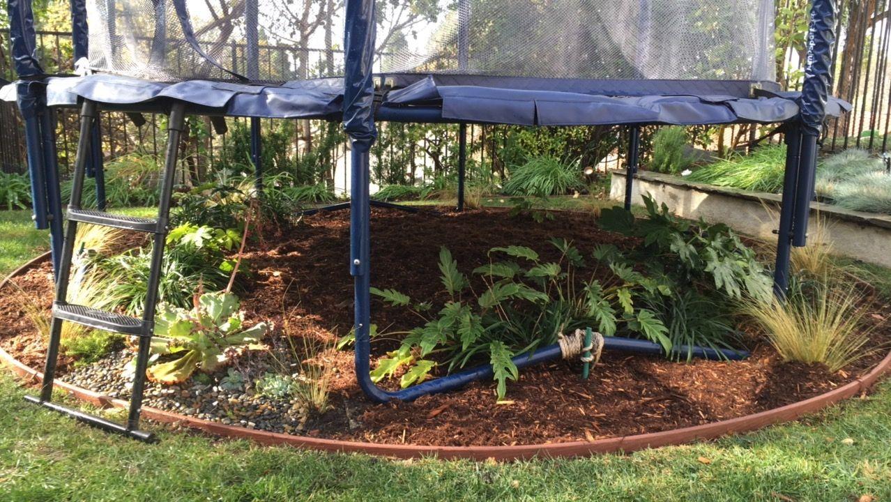 Trampoline Landscaping Garden Trampoline Backyard Play Area Backyard