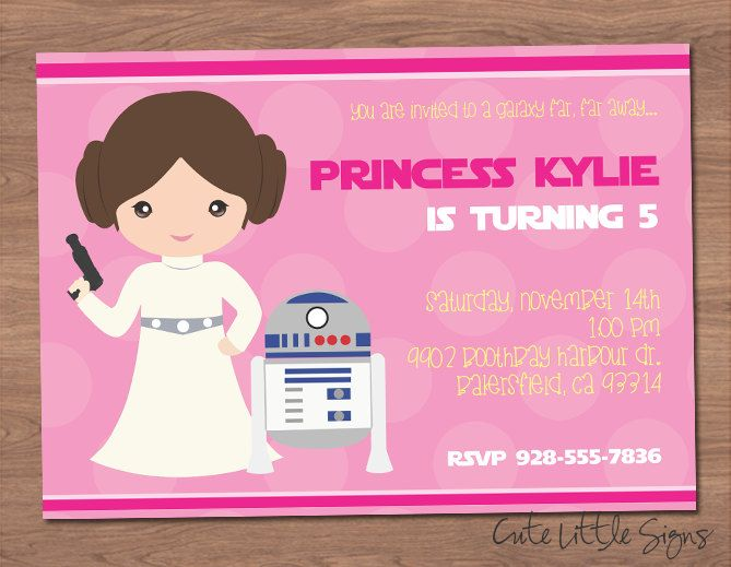 Starwars Princess Leia Birthday Invitation Digital Download By - Birthday invitation images download