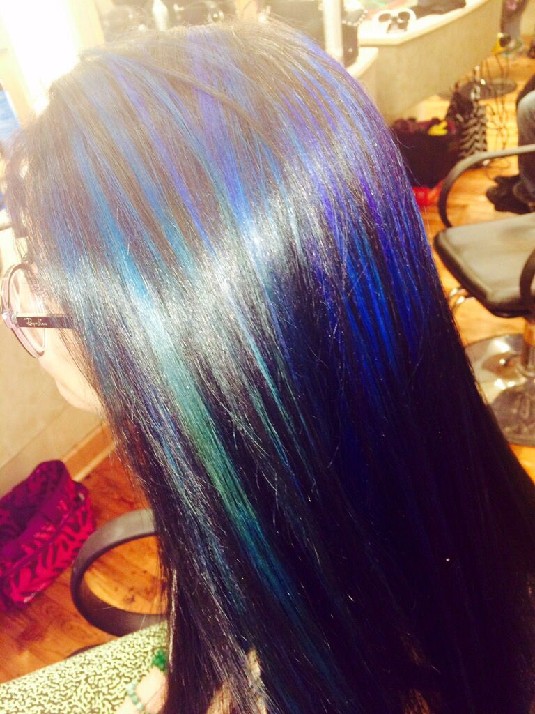 Jet Black Hair With Blue Tint And Blue Highlights Favorite