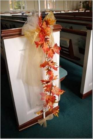 bows for pews in church wedding autumn  Google Search  Our Wedding  Church wedding
