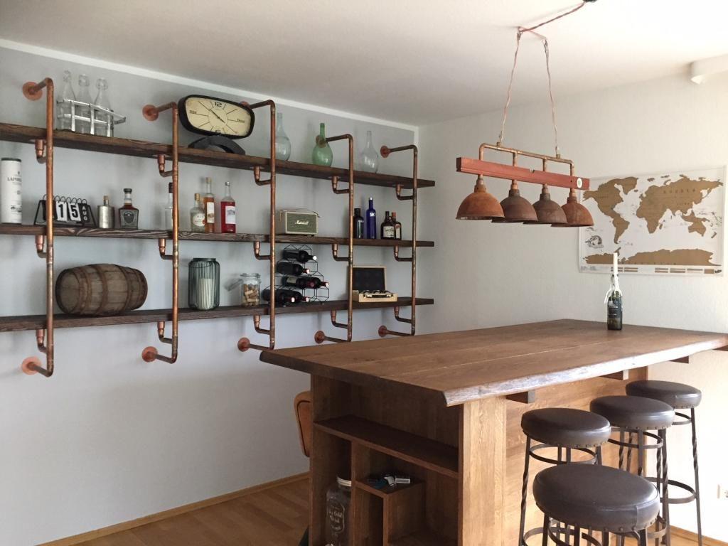 DIY-Pendelleuchte und Regal aus Metallrohren. #DIY #Lampe ...