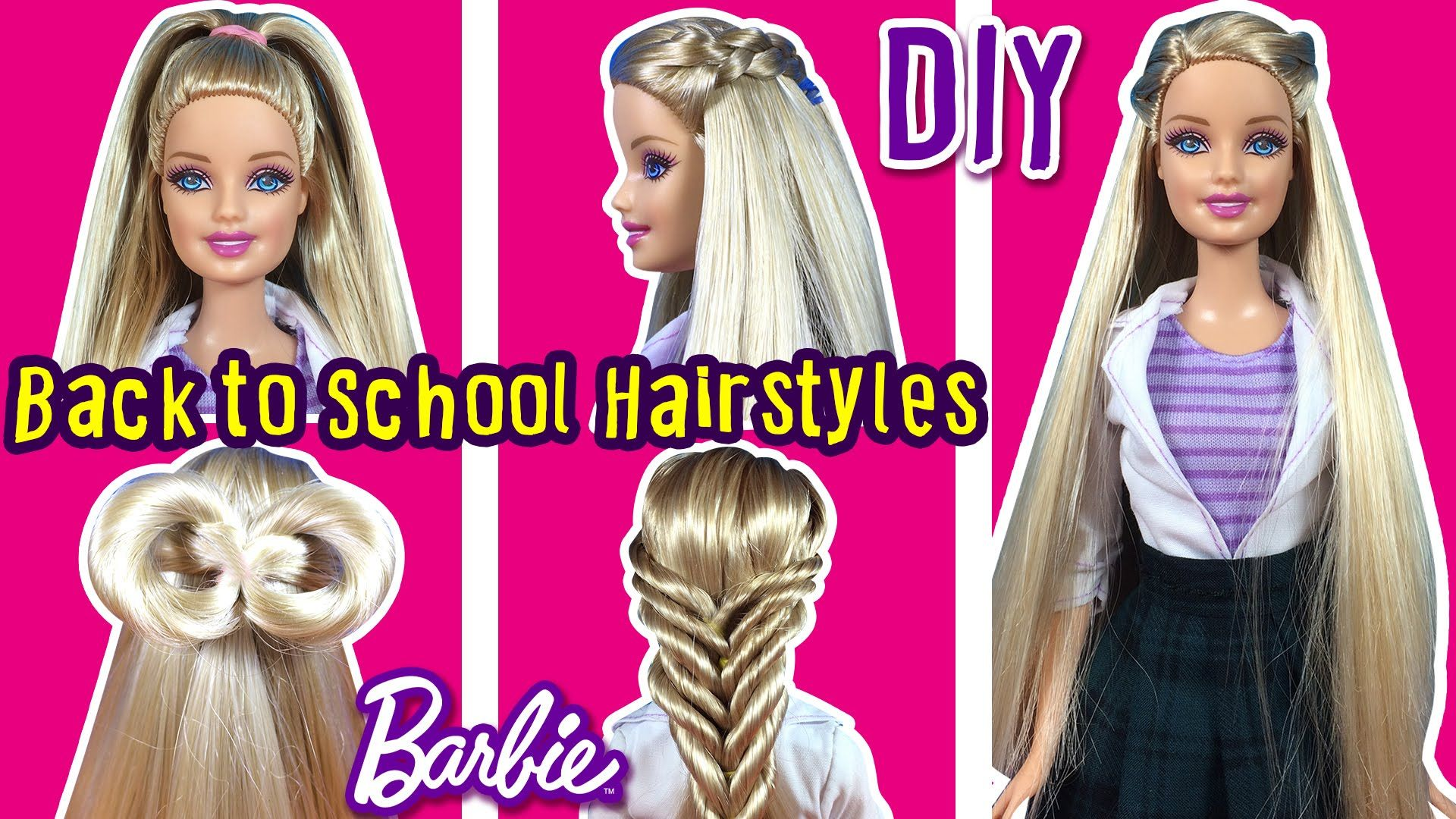 Back To School Hairstyles of Barbie Doll - DIY Barbie Hair