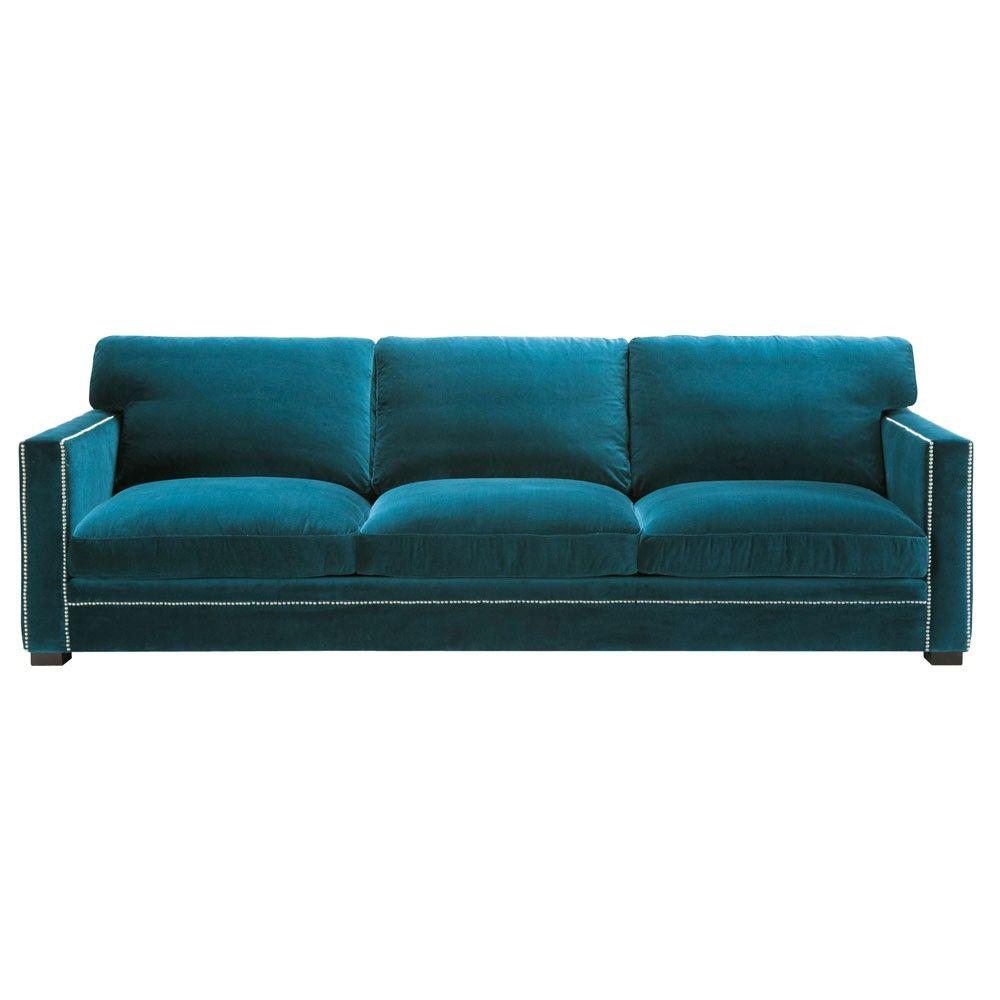 Divano blu in velluto 4/5 posti | Future