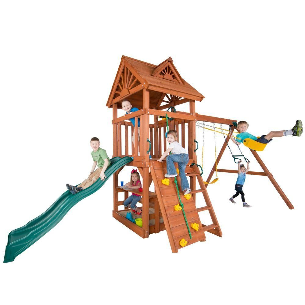 Swing N Slide Playsets Acrobat Wood Complete Playset 4367 At The Home Depot