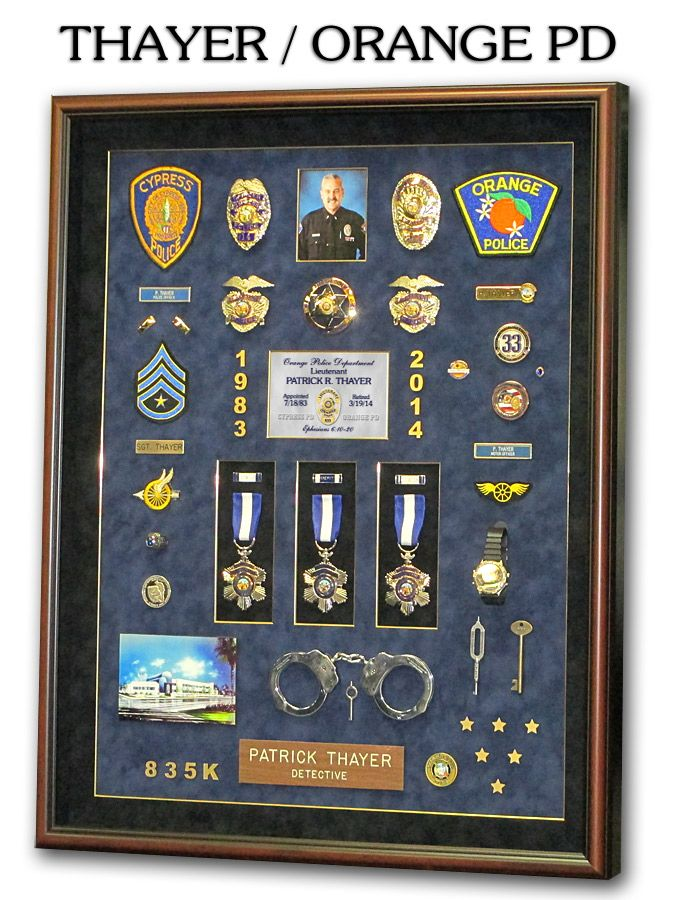 Police Shadowboxes from Badge Frame  Thayer / Orange PD