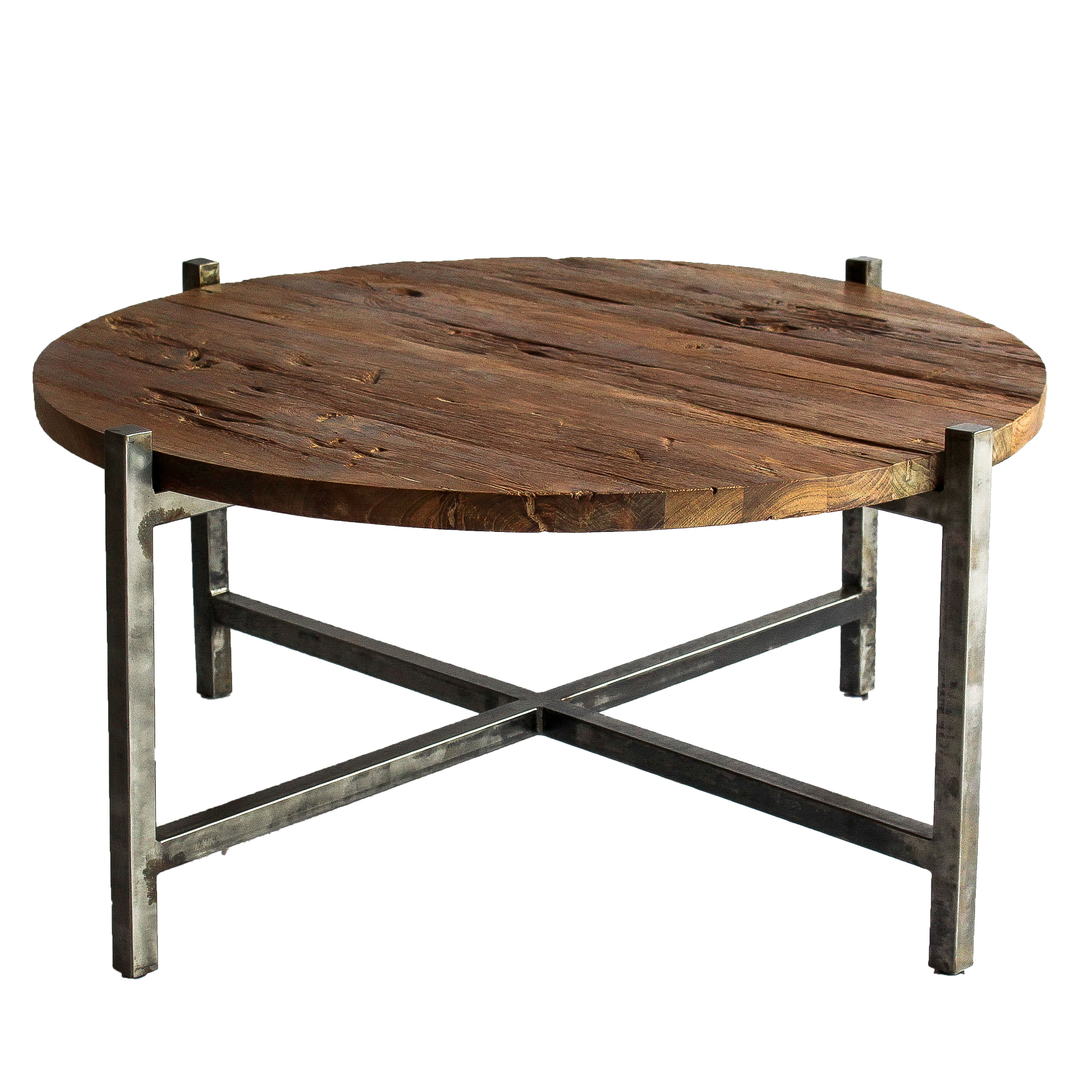 Lotta coffee table gunmetal frame reclaimed teak wood