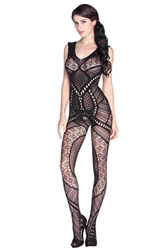 afa0ce77c1 ABERRY Black Lingerie Hollow-out Pattern Open Crotch Seam... https