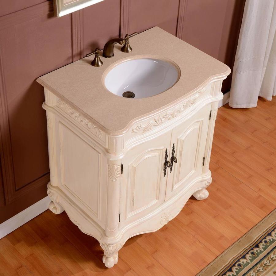 Silkroad Exclusive 32 In Antique White Single Sink Bathroom Vanity With Crema Marfil Natural Marble Top Lowes Com Bathroom Sink Vanity Bathroom Countertops Bathroom Vanity [ 900 x 900 Pixel ]