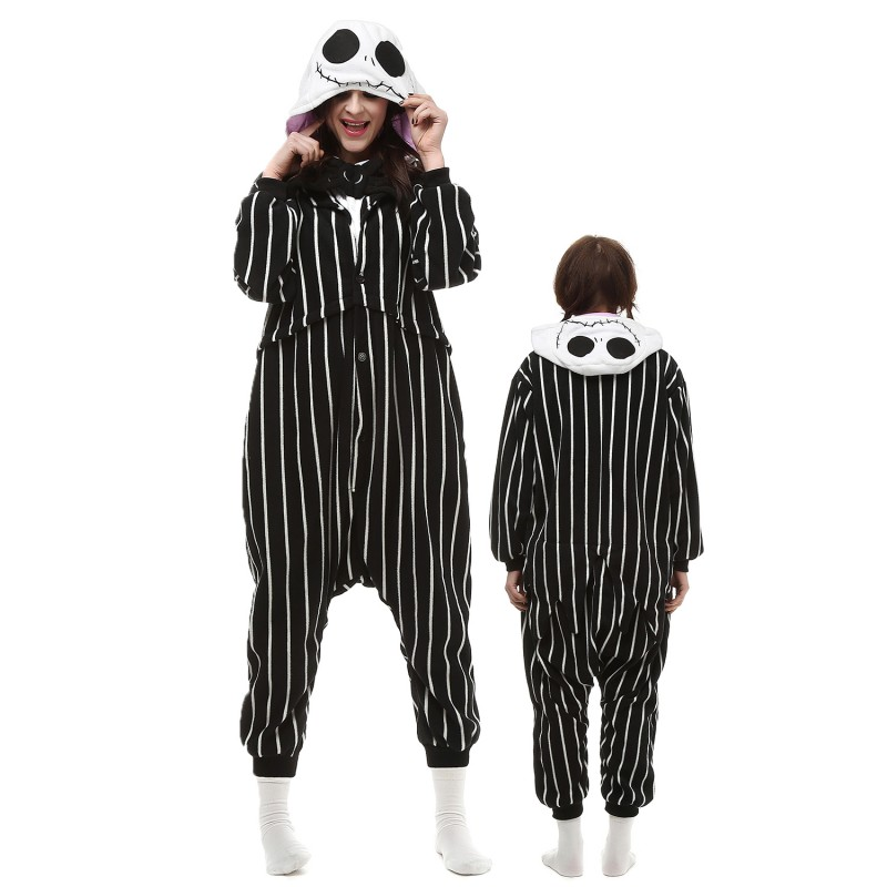 Jack Skellington Costume Onesie Pajamas Adult Animal