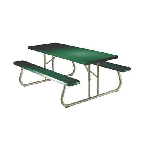 Lifetime 22123 6 Person Folding Picnic Table, Hunter Green   Perfect For  Outdoor Dining This 6 Person, Collapsible Picnic Table Folds Flat For  Storage And ...