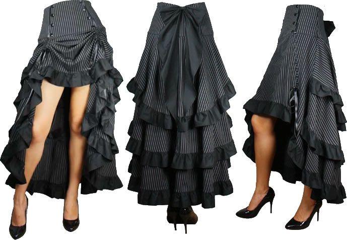 steampunk gothic victorian long skirt bustles ruffles. Black Bedroom Furniture Sets. Home Design Ideas