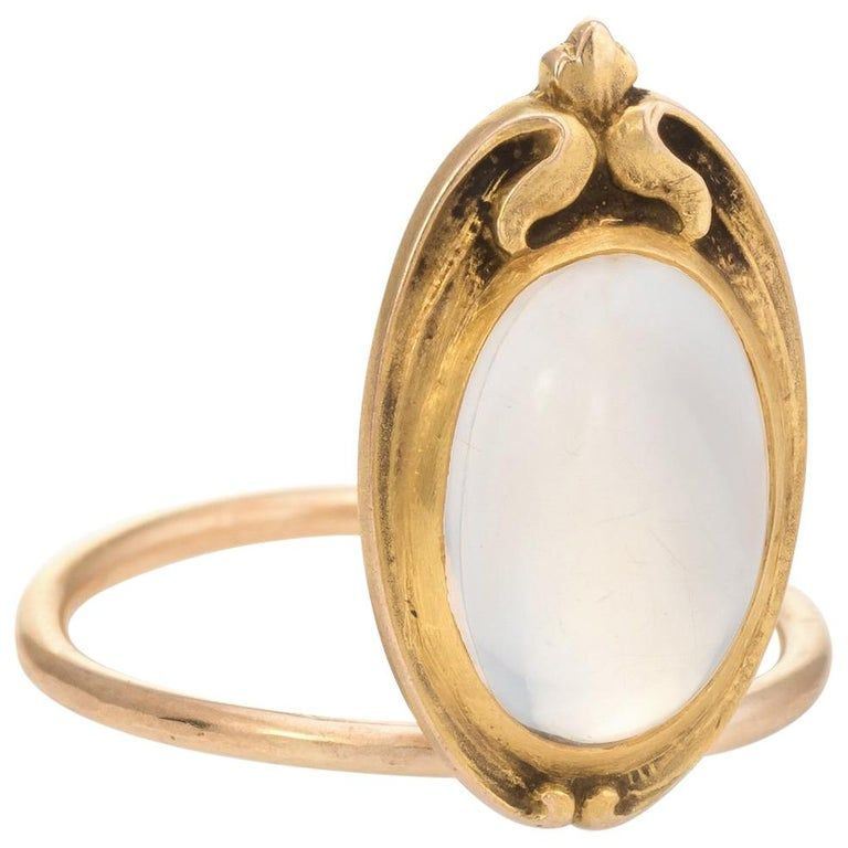 1stdibs Antique Conversion Ring 10 Karat Vintage Jewelry Art Nouveau Moonstone 10k Gold Yellow Gold Vintage Gold Earrings Antique Art Vintage Jewelry