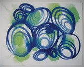 5x7 Geometric Abstract Art Blue Green Colorful Circular Circle Lines Original Art Print Watercolor Painting of Abstract Print
