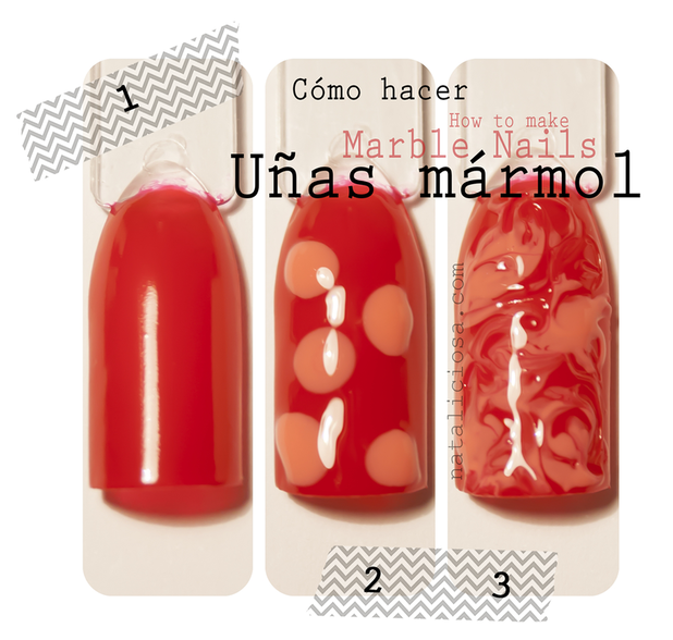 TUTORIAL - how to make marble nails! You need 2 colours and a toothpick! ~ no water needed!