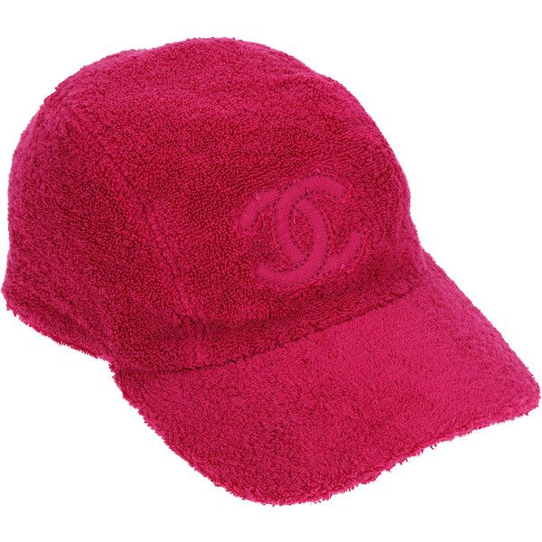 d9d517f8 Pre-owned Chanel Pink Terry Cloth CC Baseball Cap ($465) ❤ liked on  Polyvore featuring accessories, hats, bags and hats, chanel, cap hats, baseball  hats, ...