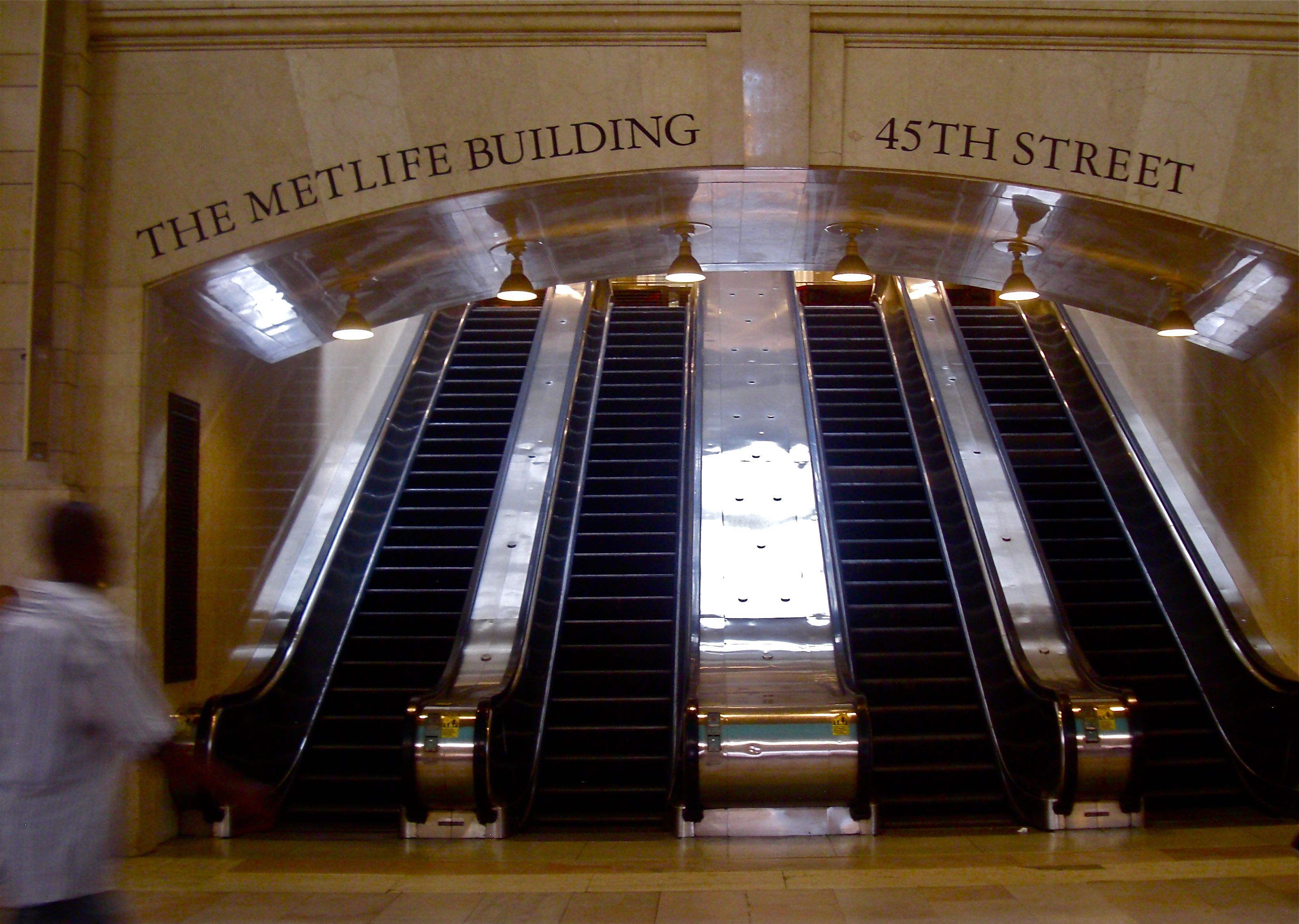 The Escalators Leading Up To The Park Street Exit   Grand Central Terminal  NYC
