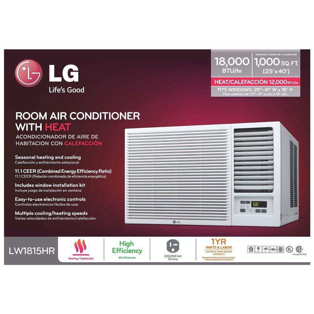 Lg Electronics 18 000 Btu 230 208 Volt Window Air Conditioner With Cool Heat And Remote In White Lw1816hr The Home Depot Window Air Conditioner Room Air Conditioner Air Conditioner With Heater