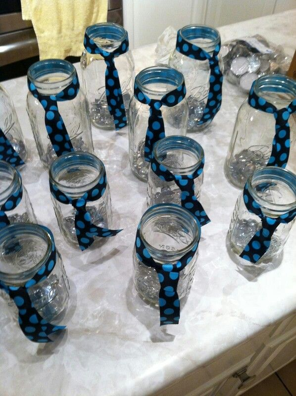 Mason Jars With Ties Baby Boy Shower Table Decorations