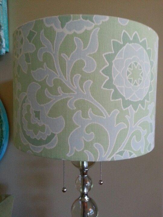 Home Goods Lamp Shade In Blue Green White I Didn T Like The White Lamp It Came With But I Will Cover That One W Seashells I H Lamp Shade White Lamp