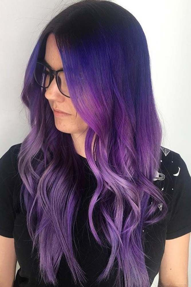 cosmic dark purple hair hues