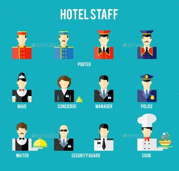 Hotel Staff Avatars Vector EPS CS Business Concierge Cook Design